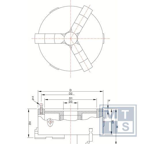 K11- 80 Zelfcentrerende 3-klauwplaat