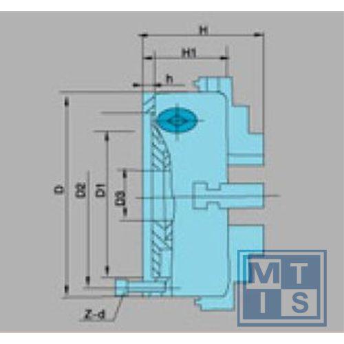 K72-100 Onafhankelijke 4-klauwplaat