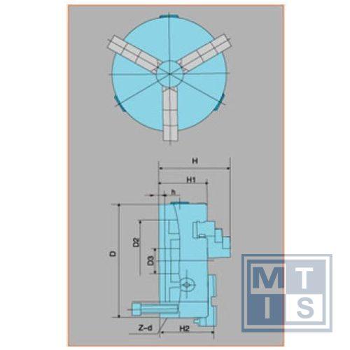 K11-160a Zelfcentrerende 3-klauwplaat